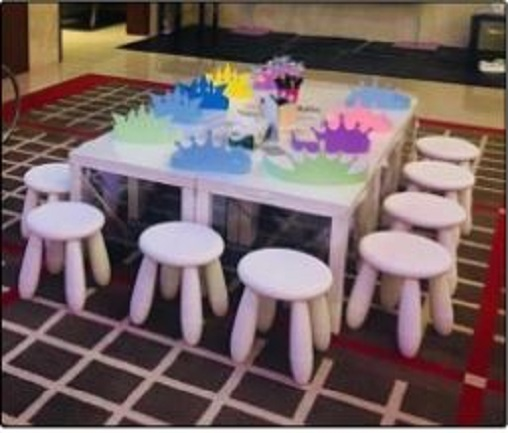Children Tables and Chairs / White Stools